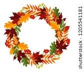 autumn leaves wreath decor ... | Shutterstock .eps vector #1205541181