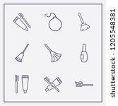 outline 9 brush icon set. broom ... | Shutterstock .eps vector #1205548381