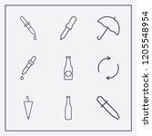 outline 9 drop icon set.... | Shutterstock .eps vector #1205548954