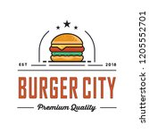 burger logo design  for a fast...   Shutterstock .eps vector #1205552701