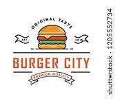 burger logo design  for a fast... | Shutterstock .eps vector #1205552734
