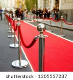 red carpet and barrier on... | Shutterstock . vector #1205557237