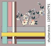 vector geometric and flowers... | Shutterstock .eps vector #1205564791