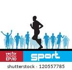 marathon runners man | Shutterstock .eps vector #120557785
