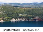 a small village at the adriatic ... | Shutterstock . vector #1205602414