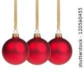 three christmas balls hanging... | Shutterstock . vector #120560455