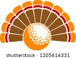 a thanksgiving turkey tail with ... | Shutterstock .eps vector #1205616331