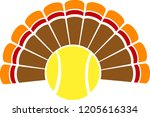 a thanksgiving turkey tail with ... | Shutterstock .eps vector #1205616334