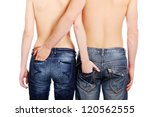 Young Couple In Jeans  Isolate...