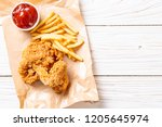 fried chicken with french fries ... | Shutterstock . vector #1205645974