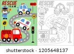 coloring book vector of rescue... | Shutterstock .eps vector #1205648137