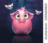 vector cartoon big pig on a... | Shutterstock .eps vector #1205660824