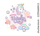 hand sketched welcome unicorn... | Shutterstock .eps vector #1205668411