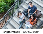 three asian young campus...   Shutterstock . vector #1205671084