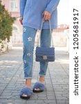 fashion woman wearing blue... | Shutterstock . vector #1205681917