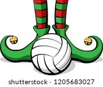 christmas elf feet with a... | Shutterstock .eps vector #1205683027