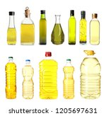 set with bottles of different...   Shutterstock . vector #1205697631