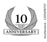 10 years design template. 10th... | Shutterstock .eps vector #1205698747