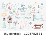 watercolor merry christmas... | Shutterstock . vector #1205702581