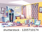 messy bedroom of lazy child... | Shutterstock .eps vector #1205710174