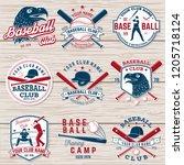 set of baseball or softball... | Shutterstock .eps vector #1205718124