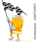 beer character waving race flag ... | Shutterstock . vector #1205723947