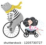 cute bear travel with little... | Shutterstock .eps vector #1205730727