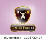 gold badge or emblem with... | Shutterstock .eps vector #1205733427