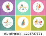 hair styling and massage by... | Shutterstock .eps vector #1205737831