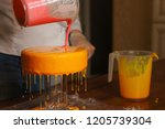 mousse yogurt cake. the girl... | Shutterstock . vector #1205739304
