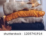 variety of sweaters piled up on ... | Shutterstock . vector #1205741914