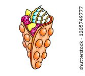 bubble waffle color hand drawn... | Shutterstock .eps vector #1205749777