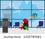 cute penguin with red beanie... | Shutterstock .eps vector #1205785081