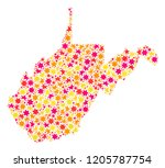 collage map of west virginia...   Shutterstock .eps vector #1205787754