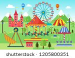 amusement park with carousels ... | Shutterstock .eps vector #1205800351
