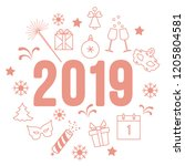 new year symbols. gifts ... | Shutterstock .eps vector #1205804581