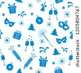 seamless pattern with new year... | Shutterstock .eps vector #1205804767
