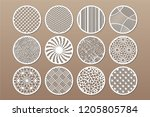 set round template for cutting. ... | Shutterstock .eps vector #1205805784