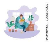 man with book in livingroom... | Shutterstock .eps vector #1205809237