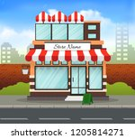 orange and red store building... | Shutterstock .eps vector #1205814271