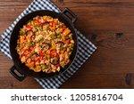 traditional jambalaya perepared ...   Shutterstock . vector #1205816704