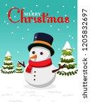 merry christmas snowman... | Shutterstock .eps vector #1205832697