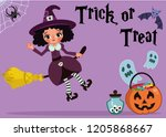 witch on a broom says trick or...   Shutterstock .eps vector #1205868667