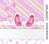 pink baby shower card with baby ... | Shutterstock . vector #120587485
