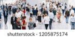 trade fair visitors walking in... | Shutterstock . vector #1205875174