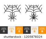 spiderweb black linear and... | Shutterstock .eps vector #1205878324