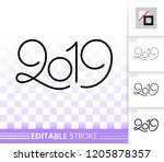2019 year thin line icon.... | Shutterstock .eps vector #1205878357