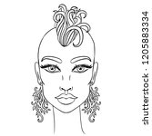 doodle girl with shaved head... | Shutterstock .eps vector #1205883334