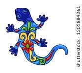 mexican ornamental lizard.... | Shutterstock .eps vector #1205884261