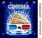 cinema tickets and 3d glasses...   Shutterstock .eps vector #1205900854